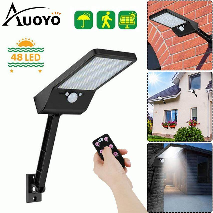 Auoyo 48 LED Solar Light Outdoor Lighting Wireless Motion Sensor Lamp with Remote Control 3 Modes 7 Color Temperature IP65 Waterproof Security Wall Light for Barn Porch Garage