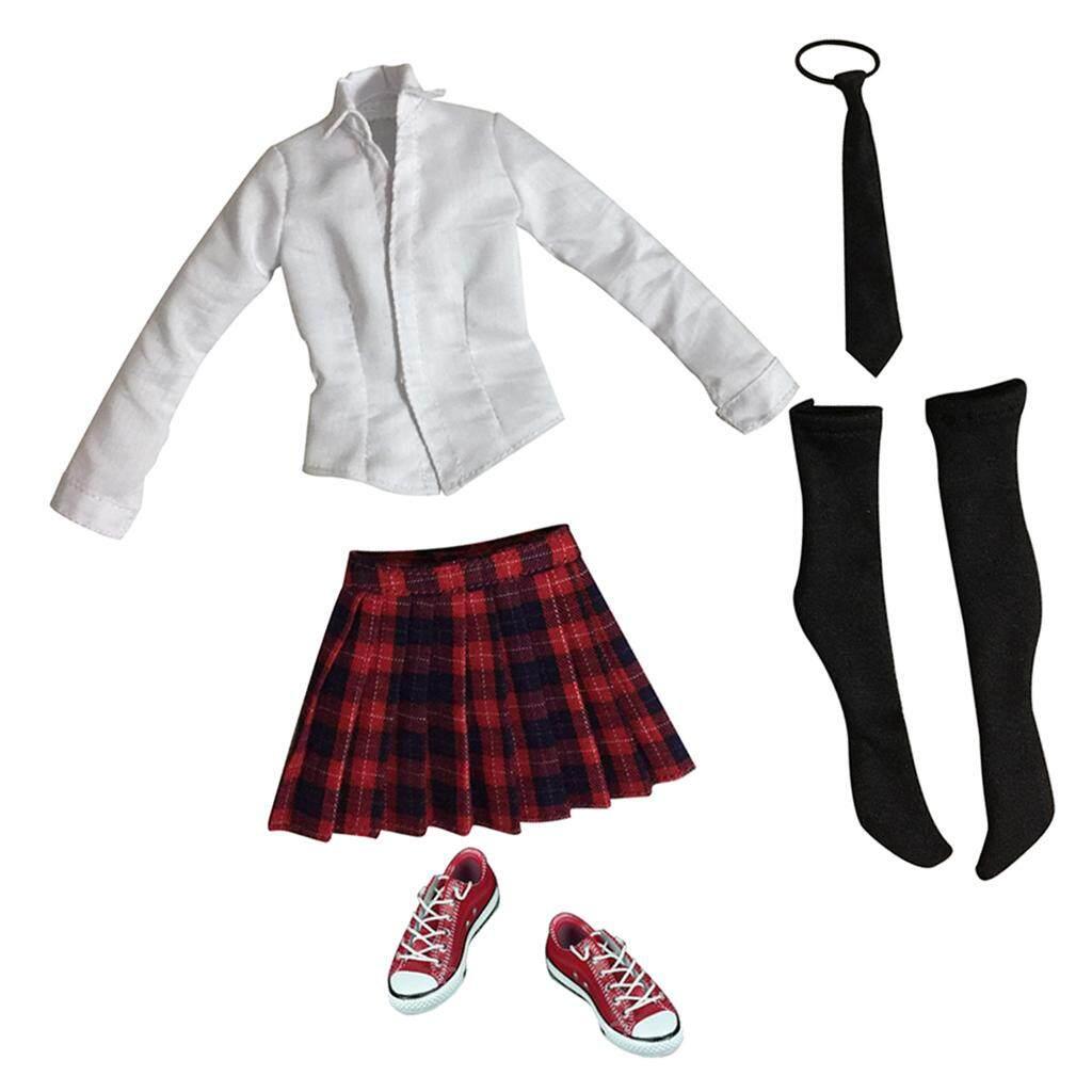 Kesoto 1:6 12'' Action Figure Accessories - Set of Schoolgirl Uniform &