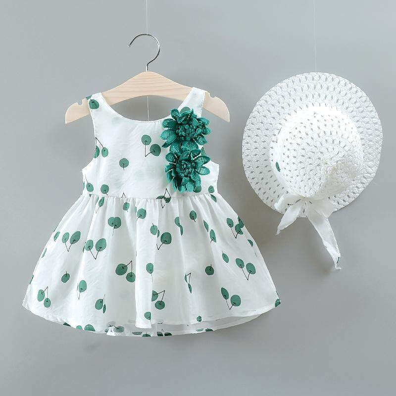 9714077d74d17 2Pcs Set Baby Girls Dress With Hat Kids Clothes Floral Sleeveless Dresses