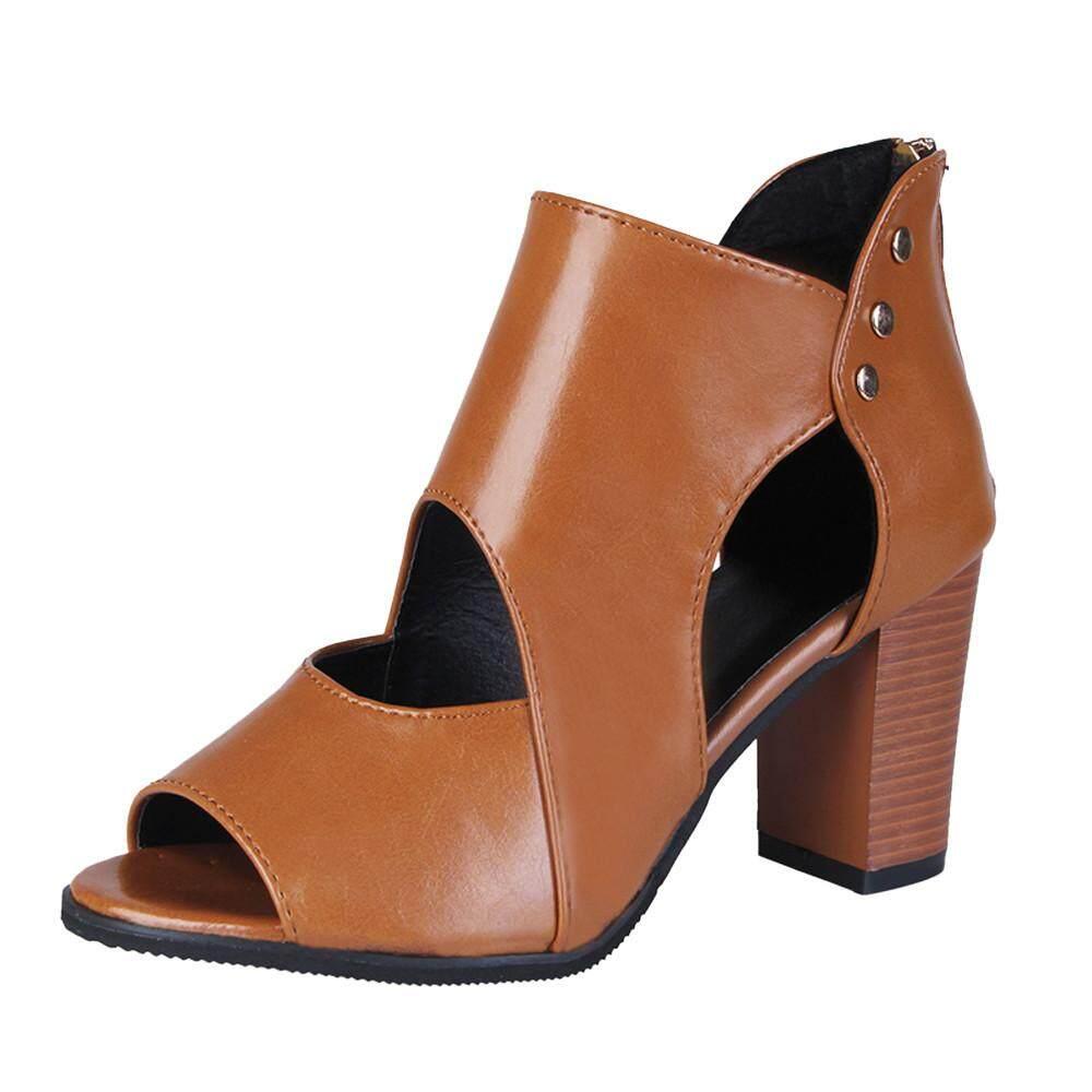 5d61cfcb6623 Auburyshop Womens Fish Mouth High Heel Zipper Sandals Leather Short Boots  Single Shoes Reference size