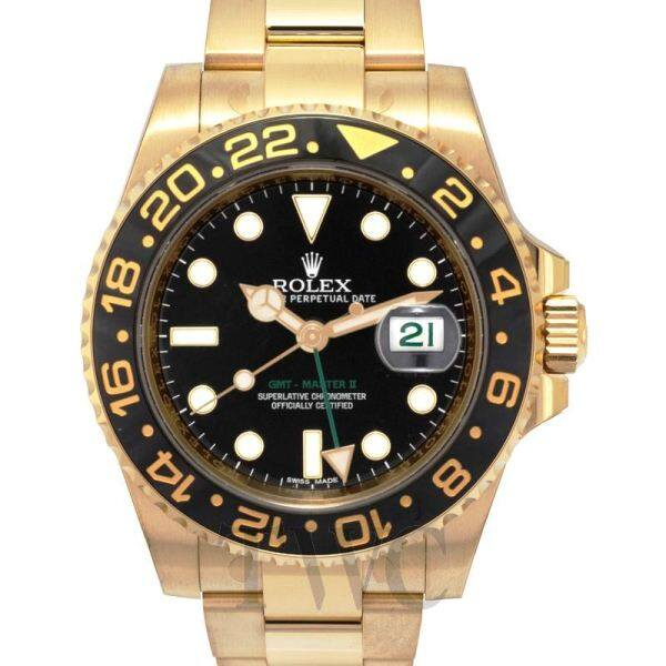 Ròlex GMT Master IIGMT Master II Yellow Gold Automatic Black Dial Mens Watch Malaysia