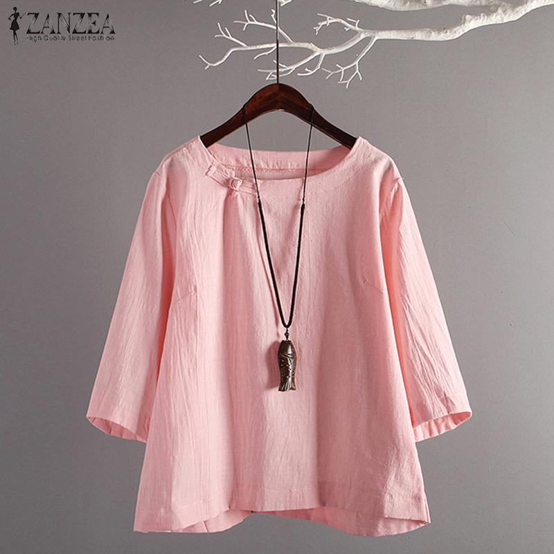 84a5d70751f ZANZEA Womens Spring Round Neck 3/4 Sleeve Blouse Ladies Casual Tops T-Shirt