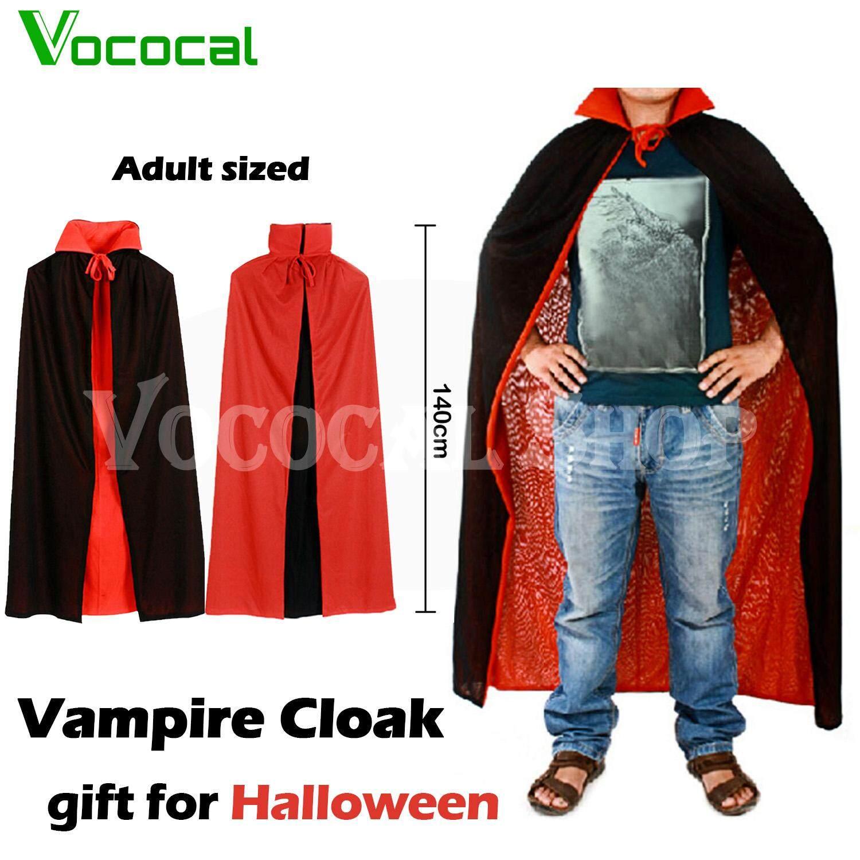 Vampire Dracula Cloak Cape for Men Male Halloween Fancy Dress Costume 140cm Long Black Red Reversable
