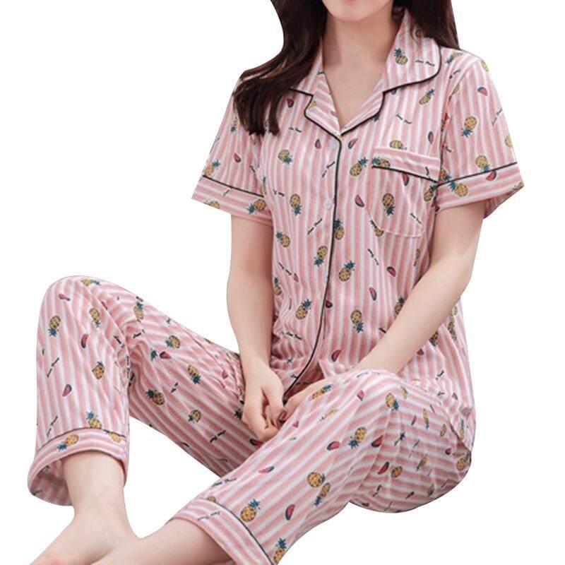 Hequ Korean Style Pajamas Set For Women Cartoon Printing Pajamas Suit Short Sleeved Ladies Pajamas By Hequ Trading.