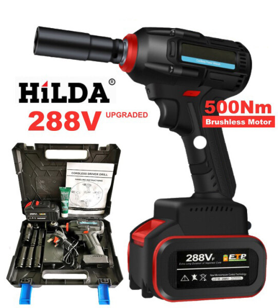 HILDA 500Nm High Torque Heavy Duty 288V Cordless Impact Wrench Drill 1/2 inch