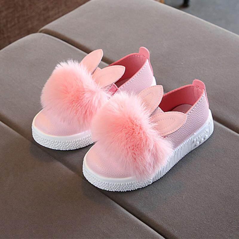 Giá bán Bé tập đi cho bé gái thỏ tai Pompom Giày dành cho trẻ em Kids Da Đơn Giày giày thường