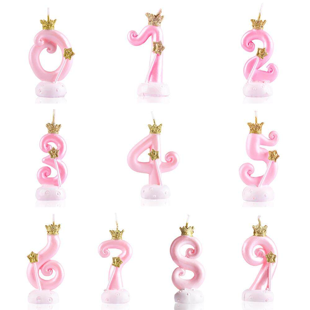 Wedding Supplies Cake Topper Digital Candle Happy Birthday Crown Cake Candle