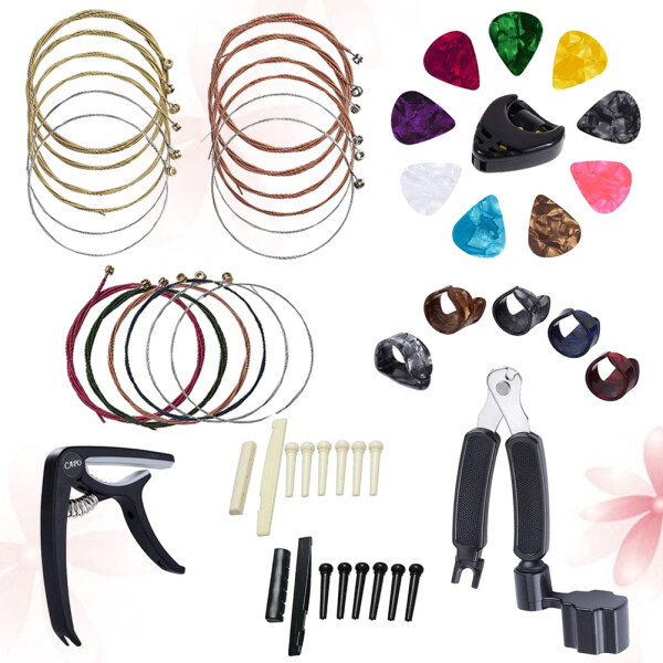 Guitar Capo String Plectrum Accessories Set Guitar String Winder Picks Holder Bridge Nut Saddle Kit (Black) Malaysia