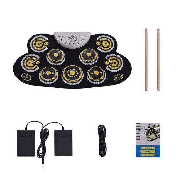 Trống Điện Tử Di Động Pad Silicone Cuộn Lên Drum Set Với Drum Sticks Bàn Đạp Chân Thiết Kế Phim Hoạt Hình Trống Kỹ Thuật Số Cho Người Mới Bắt Đầu