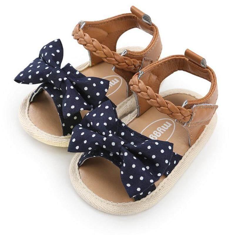 Gaya Pantai Sandal Kanvas untuk Bayi Perempuan Musim Panas Cute Sol Lembut Pita Kain Katun Sepatu Sandal Kail dan Gulungan Dekat