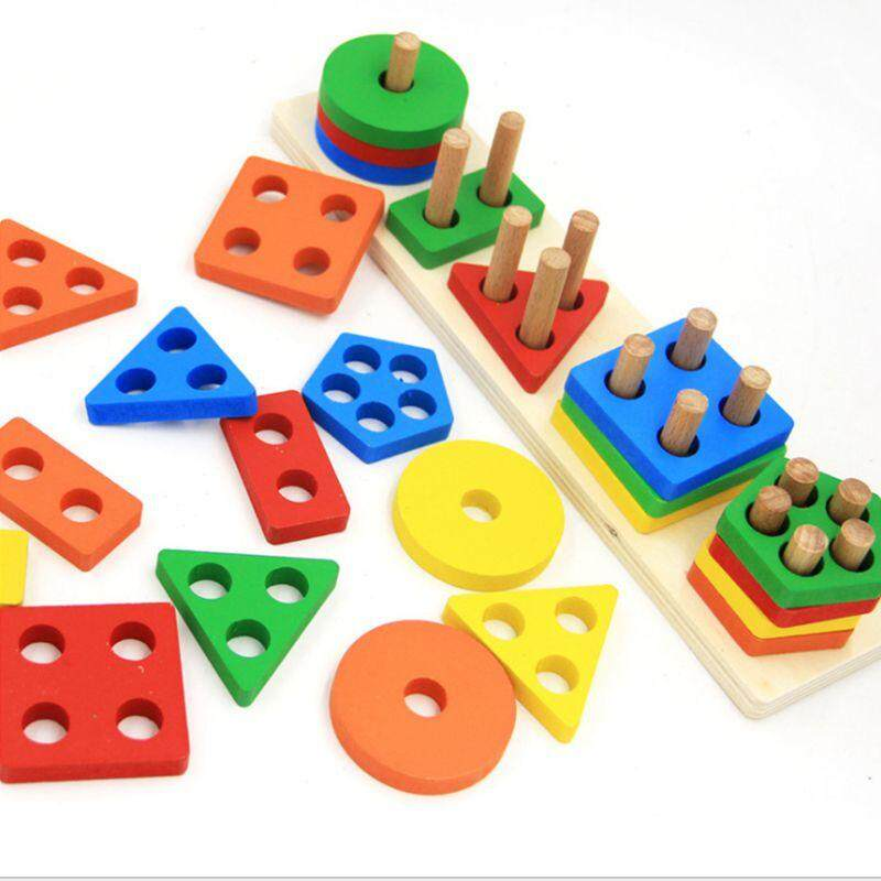 Wooden Educational Shape Color Recognition Geometric Board Block Stack Sort Chunky Puzzle Toys,birthday Gift Toy For Age 3 4 5 Years Old And Up Kid Children Baby Toddler Boy Girl By Rainning.