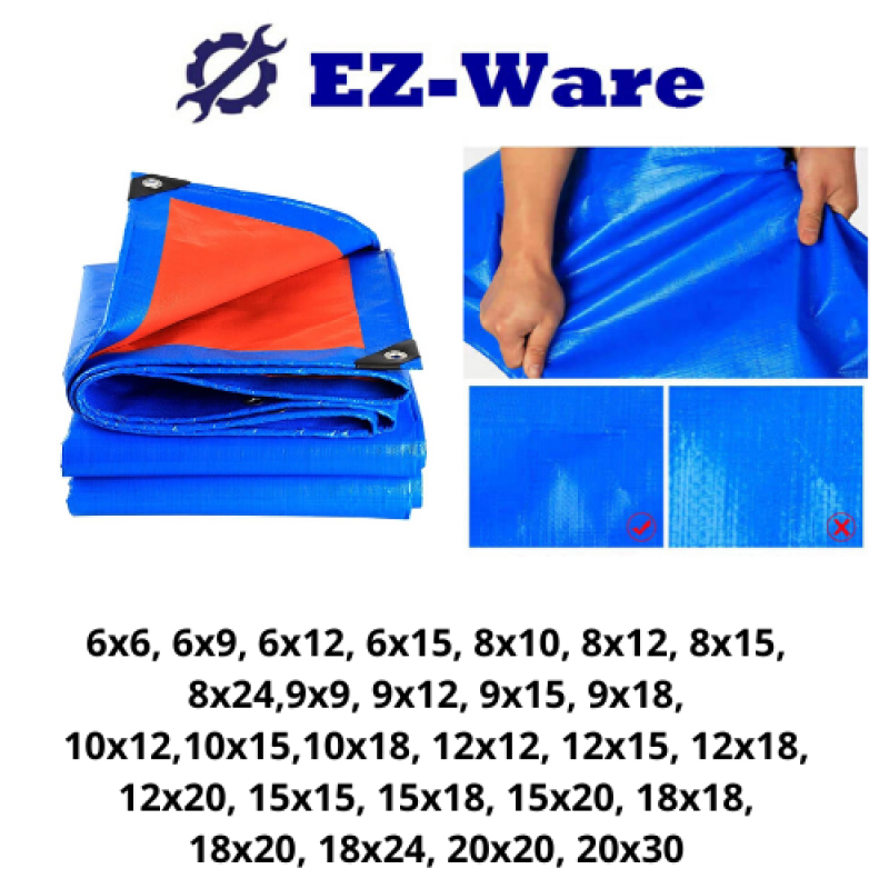KOREA Economy Blue Orange Canvas Ready Made PE Tarpaulin Sheet Outdoor Construction Renovation Floor Cover Hardware Canopy Tent Side Wall Shield Waterproof UV Protection