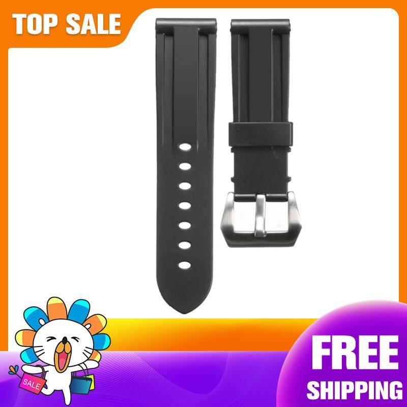 【Free Shipping + Super Deal + Limited Offer】24mm Wristwatch Strap Silicone Rubber Diving Watch Band 115mm Long with Buckle Malaysia