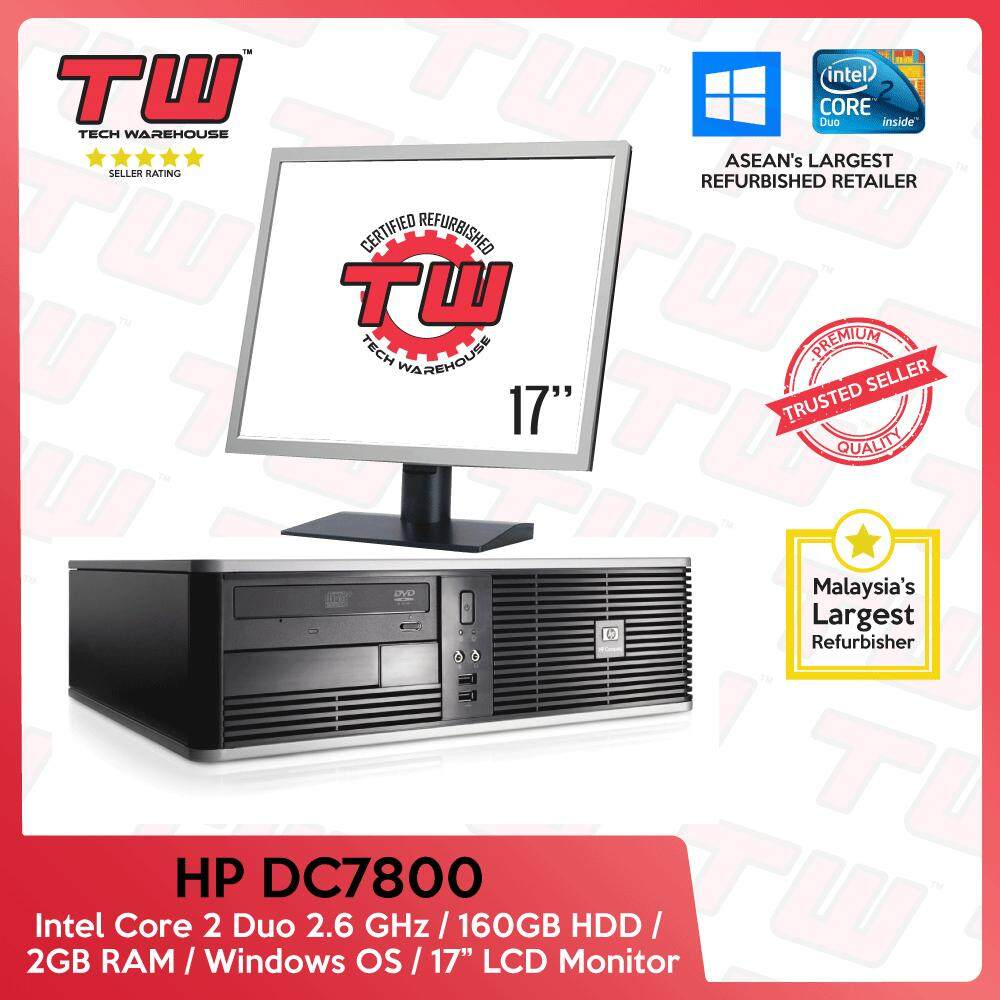 Hp Dc7800 C2d 2.6 / 2gb Ram / 160gb Hdd / Windows Os (sff) Desktop Pc / 17 Lcd / 3 Month Warranty (factory Refurbished) By Tech Warehouse.