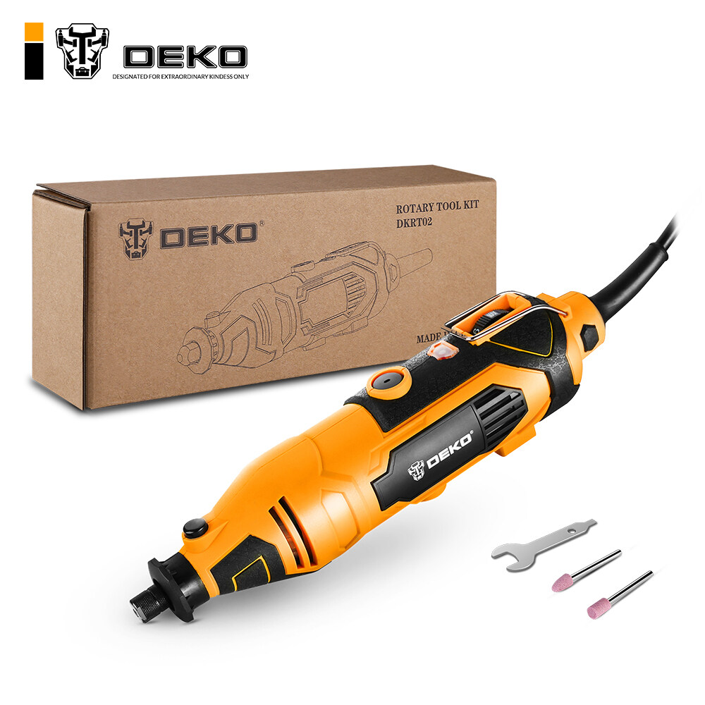 Deko DKRT02 220V Máy Khoan Điện Biến Đổi Tốc Độ Xay Mini Quay Bộ Dụng Cụ Cắt Đánh Bóng Khoan Với Phụ Kiện