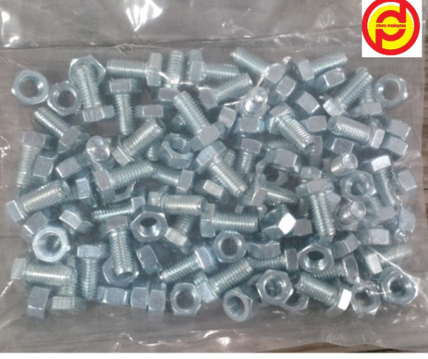 Skru Rak Besi Lubang (M8 x 16mm) / Screw Bolts and Nuts for Angle  Bar (1 pkt)