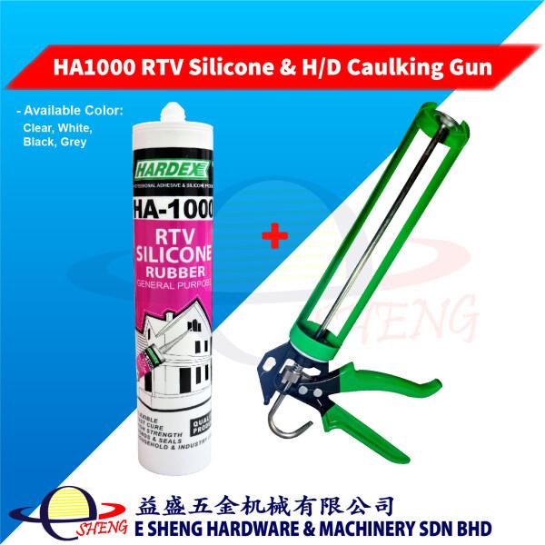 Heavy Duty Silicone Caulking Gun (Green) and HARDEX HA1000 RTV Silicone Set