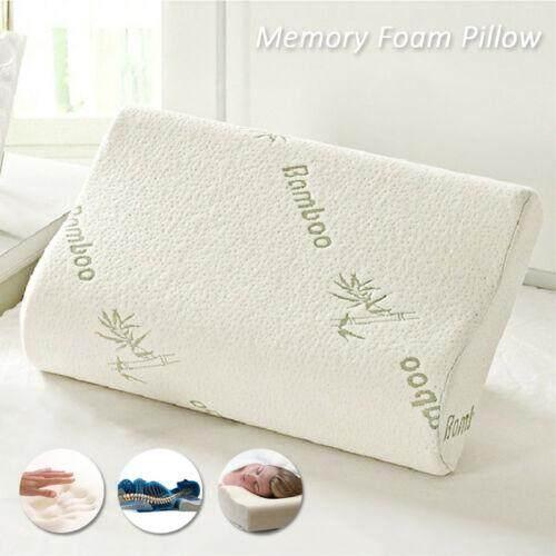 Luxury Bamboo Pillow Anti Bacterial Memory Foam Fabric Cover 50x30x7cm By Wonderholder.