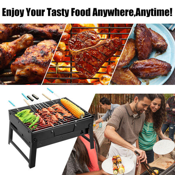 Folding BBQ Grill Portable Compact Charcoal Barbecue BBQ Grill Cooker Bars Smoker Outdoor Camping