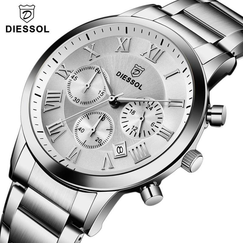Mens Watches DIESSOL Top Brand Luxury Men Chronograph Sports Quartz Watch Fashion Full Steel Waterproof Wristswatch Malaysia