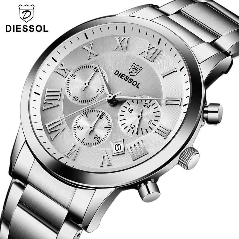 Mens Watches DIESSOL Top Brand Luxury Men Chronograph Sports Quartz Watch Fashion Full Steel Waterproof Wristswatch Malaysia