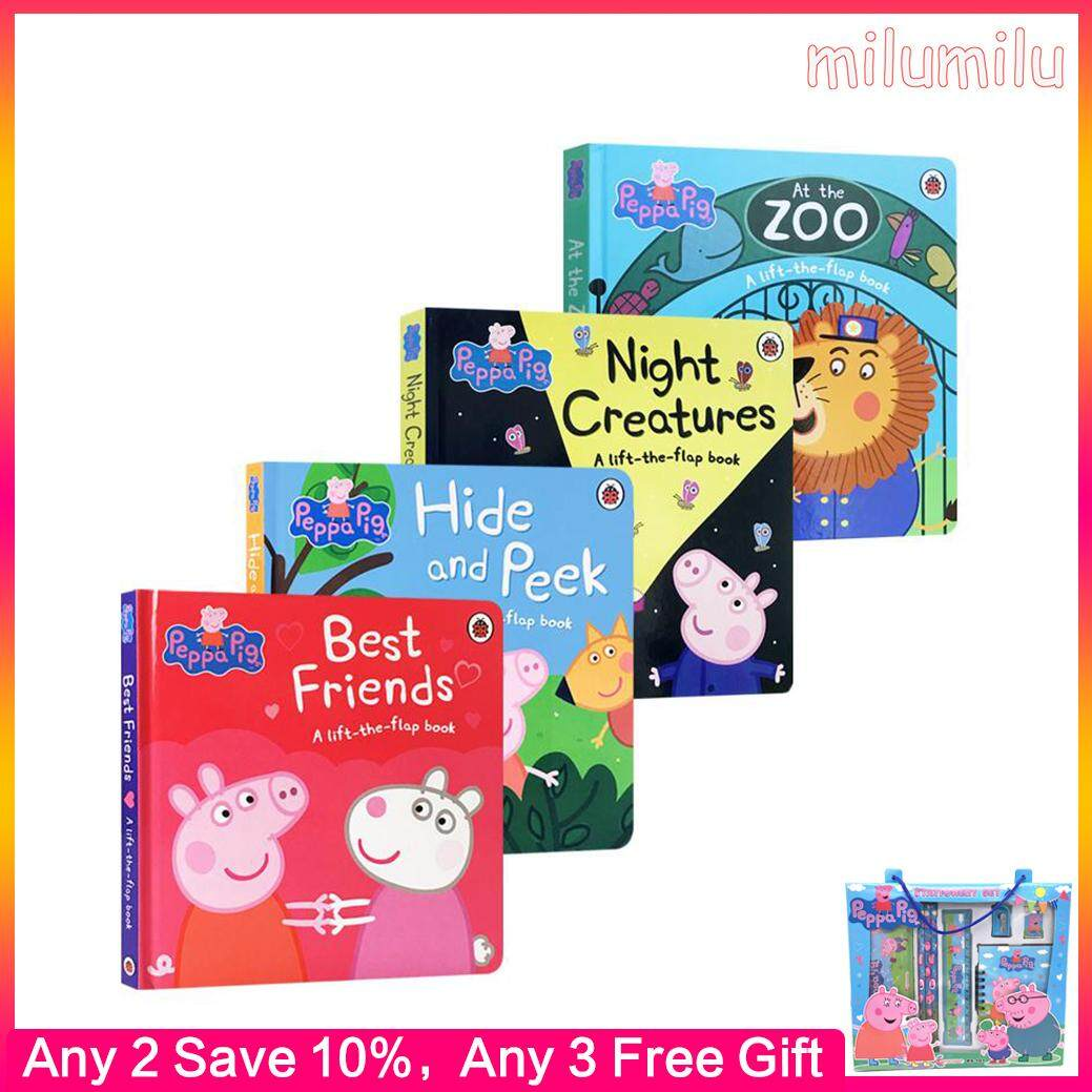 4Pcs Original English Book Peppa Pig At The Zoo/hide and Peek/best Friends Board Book Children's Educational Toy Picture Book