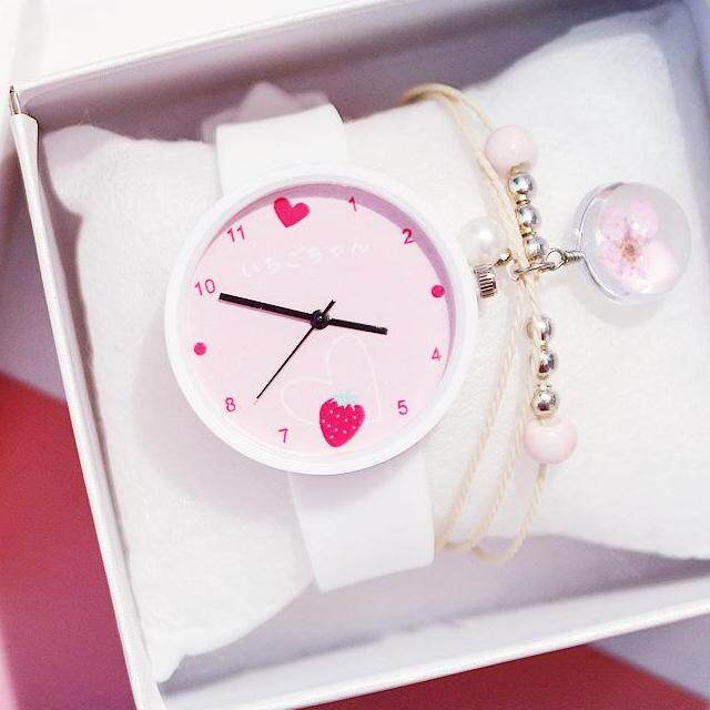 Kegllect Cute Kids Watches Strawberry Silicone Strap Quartz Watch With Bracelet Lovely Girls Casual Waterproof Fashion Wristwatches Student  Clock Gift Free Box Malaysia