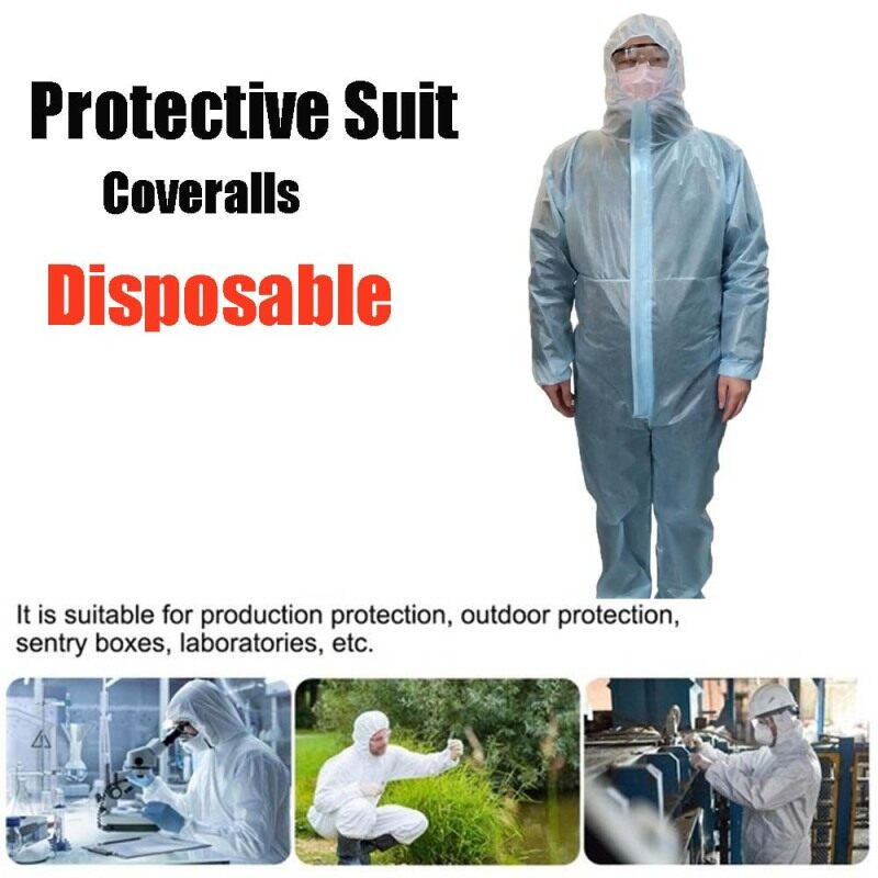 Dust-proof Anti-bacterial Women Siamese Cap Men Isolation Cloth Safety Clothing Protection Suit Non-Woven