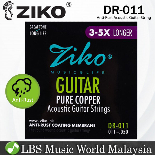 Ziko DR-011 Acoustic Guitar Strings Pure Cooper Great Tone Round Wound Anti Rust Light (11-50) Malaysia