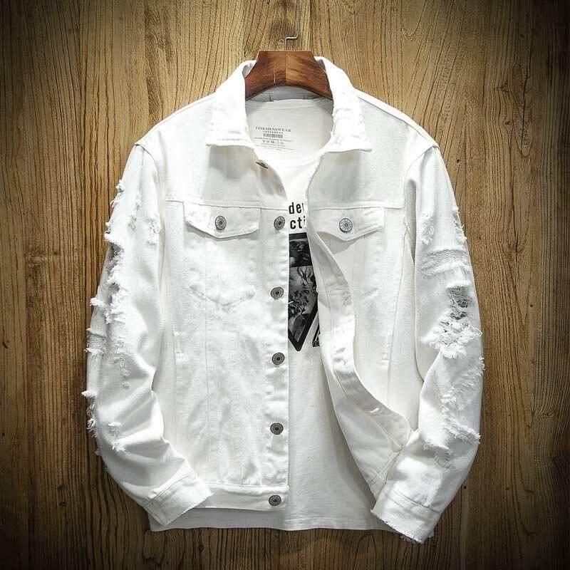 296e9186 ASFF Autumn New Men's Jean Jacket Slim Fit Cotton Denim Jacket Red White  Black Ripped Hole