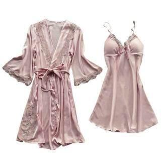 2 Cái bộ Cô Dâu Mềm Mượt Loose Night Bath Wedding Trọng Lượng Nhẹ Eo Dài Tie Rắn Thanh Lịch Ren Phụ Nữ Robe thumbnail