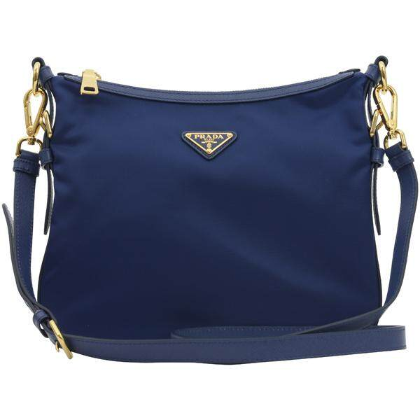 2b3e53ac4ae19 Prada Blue Tessuto Saffian Nylon and Leather Crossbody Messenger Bag BT0706