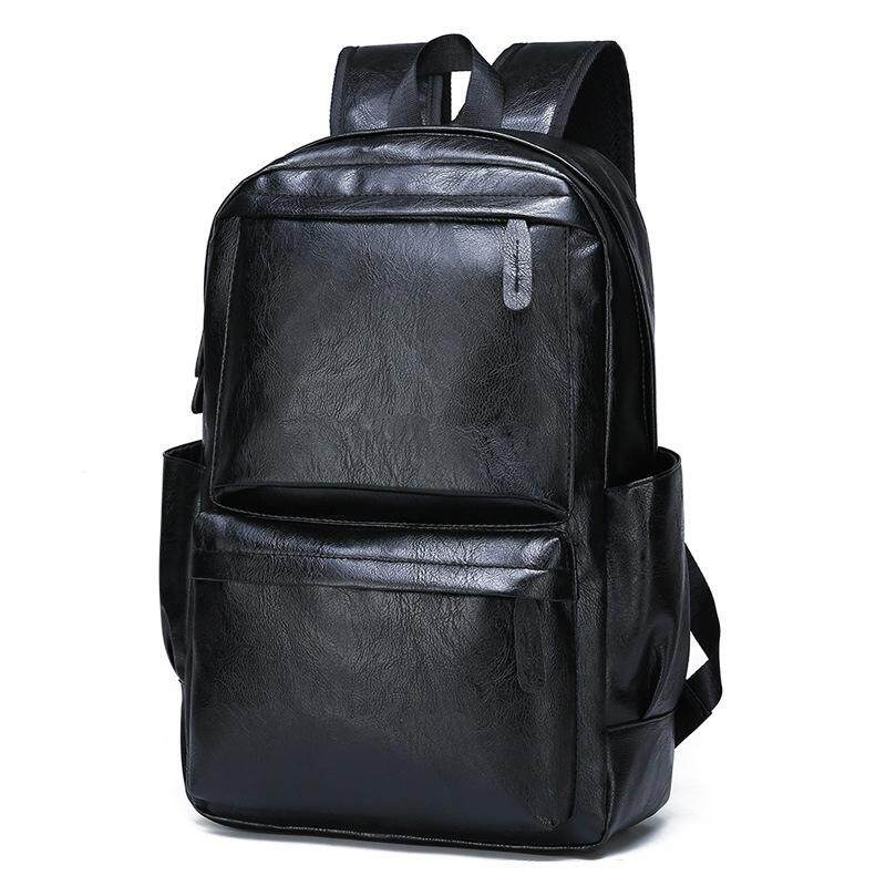 New Korean Version Of The Full Waterproof Mens Backpack Trend High-quality Pu Leather Bag Leisure Travel Large-capac Luggage & Travel Bags Luggage & Bags