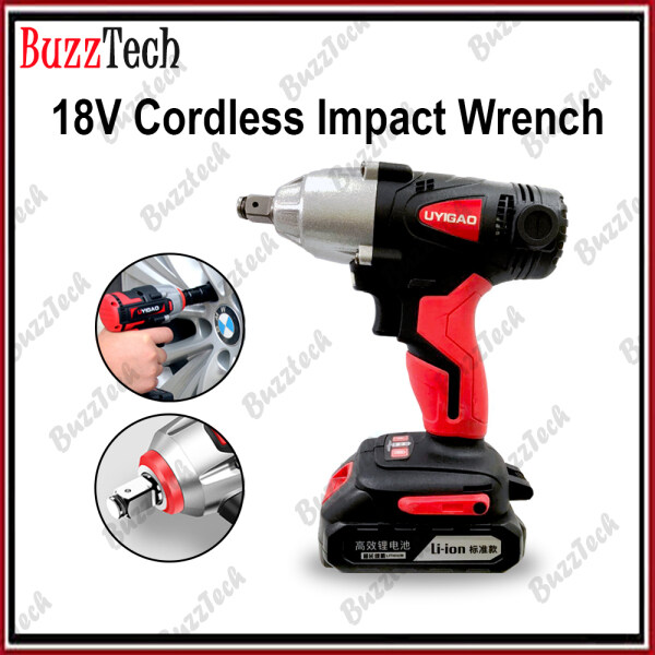 BuzzTech 18V Cordless Brushless Impact Wrench High Torque Rechargeable Electric Wrench Drill Power Tool Rim Tyre Opener
