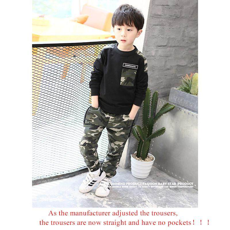 Kids Boys Clothes Set Long Sleeve Spring T Shirt Top+ Camo Camouflage Pants 2pcs Outfits Sports Set Children Boy Clothes 5-9t By Ossayi.