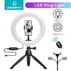 DoomHot Đèn LED livestream trợ sáng Ring light 8 inch 20CM có thể điều chỉnh độ sáng kèm giá đỡ, sạc pin USB thích hợp cho Livestream, chụp ảnh selfie, trang điểm
