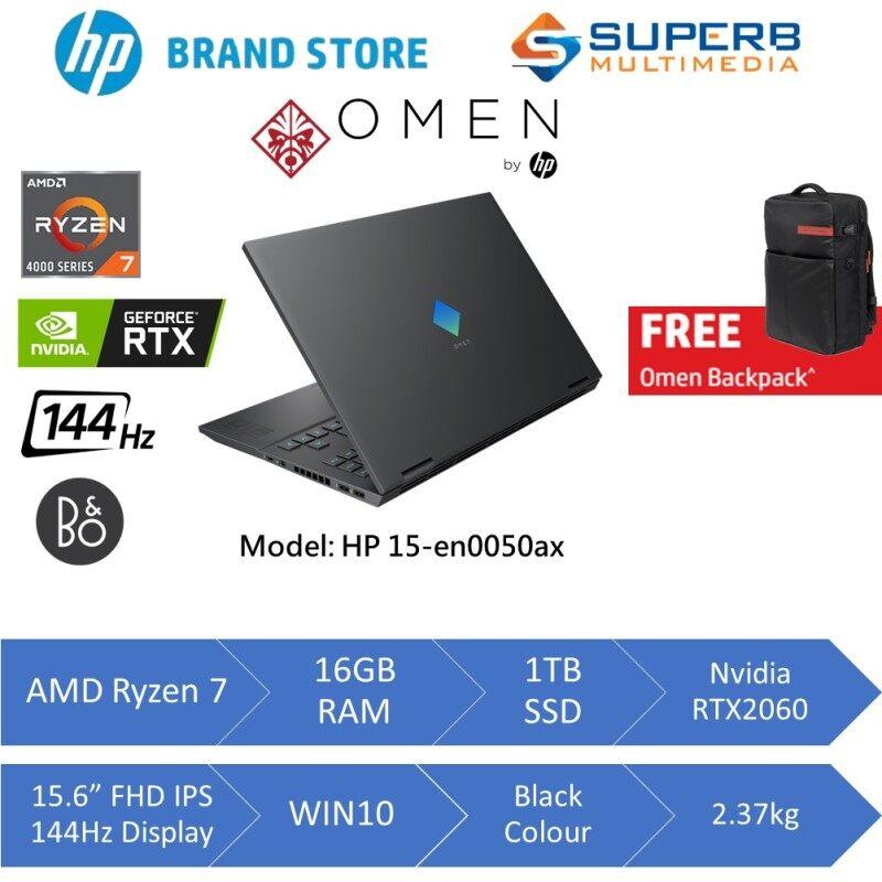 HP OMEN Laptop 15-en0050AX (AMD Ryzen 7, 16gb ram, 1tb ssd, Nvidia RTX2060 6GB, 15.6 FHD IPS 144hz, Win10, Black) Malaysia