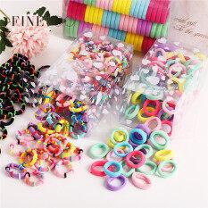 100 chiếc dây buộc tóc & kẹp tóc cao su mềm nhiều màu sắc phong cách Hàn Quốc cho bé gái dây buộc tóc đuôi ngựa co giãn vải scrunchie phụ kiện tóc tuổi teen dễ thương – INTL