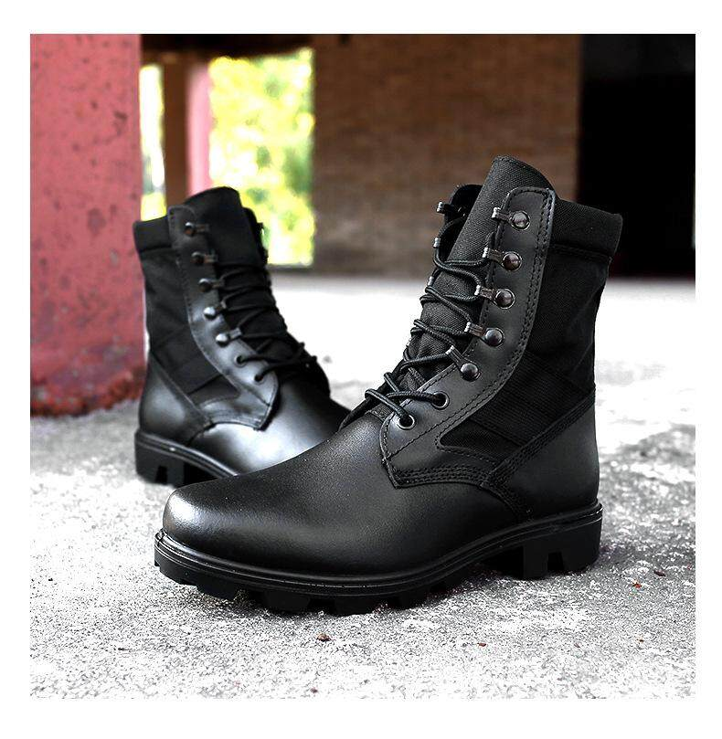 Anti-kick stab leather high-top desert boots Men's boots 07 combat boots US special forces military boots outdoor sports boots