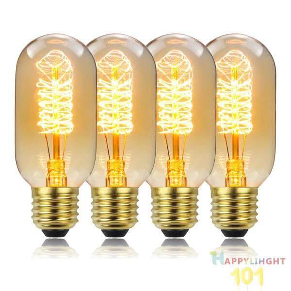4 Bóng Đèn Dây Tóc Cổ Điển 220V 110V 40W, Đèn Edison Xoắn Ốc Vàng T45