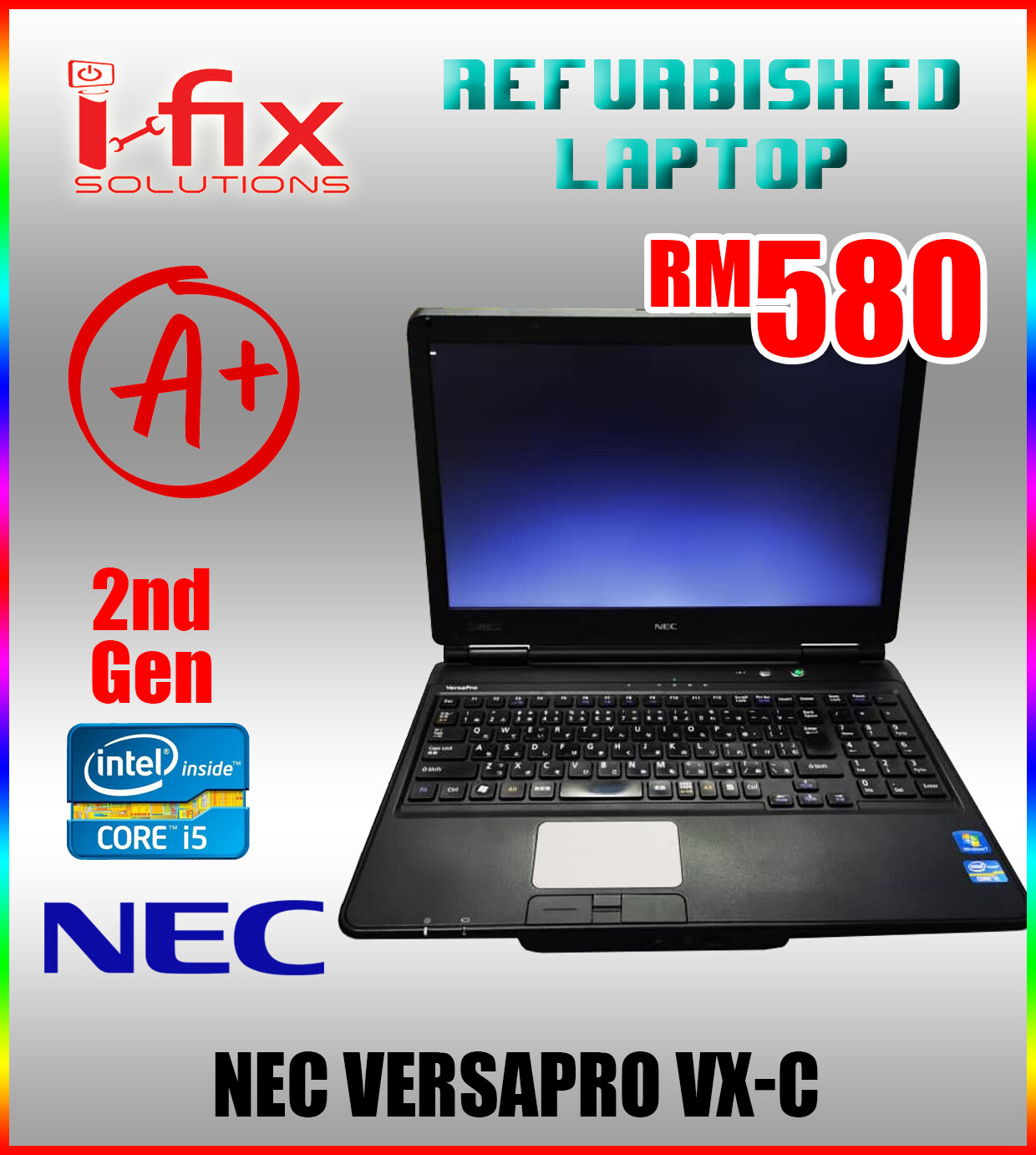 NEC VERSAPRO VXC Intel Core i5  2nd gen  4GB DDR3  120GB HDD 15.6 Screen (Refurbished Laptop) Malaysia