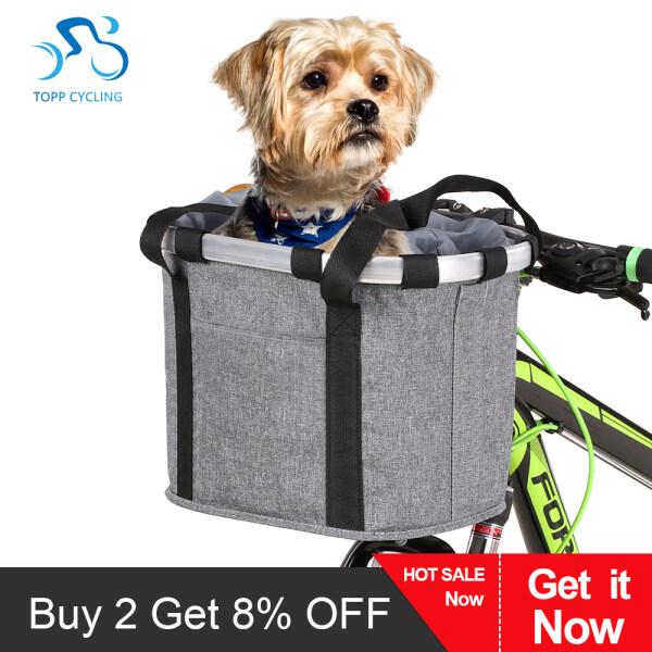 Xe đạp có thể tháo rời Giỏ xe đạp phía trước Pet Carrier Canvas Túi phía trước khung hợp kim nhôm giỏ thú cưng