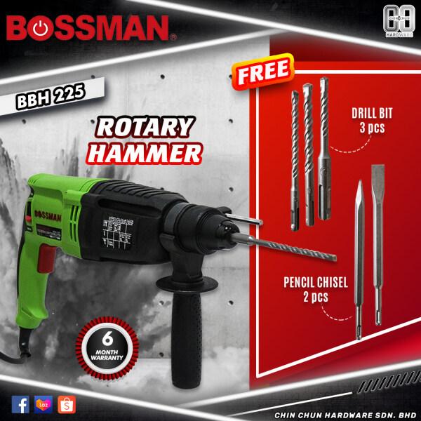 BOSSMAN ROTARY HAMMER DRILL BBH225|BBH 225|BBH-225|3MODE ROTARY HAMMER|PENCIL CHISEL|DRILL BIT|BOSSMAN ROTARY HAMMER