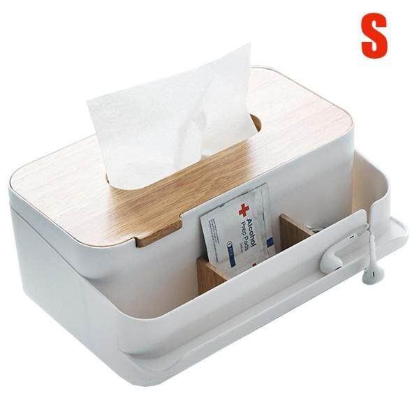 NiceToEmpty Wooden Tissue Box , Desktop Napkins Case with Phone Holder Remote Control Cosmetics Storage Box for Home Car Organizer Decoration-S/M