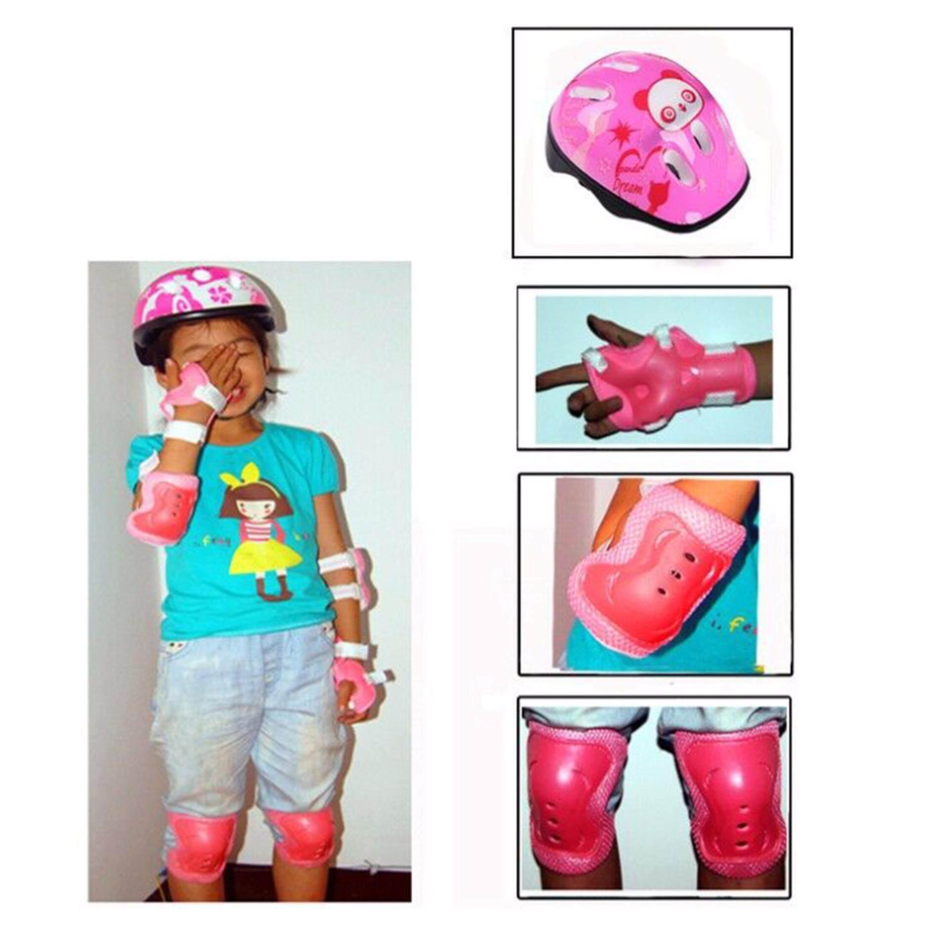 Rồng 7 cái/bộ Trẻ Em Trượt Băng Mũ Bảo Hiểm Bảo Vệ Khuỷu Tay Đầu Gối Đệm Lót Cổ Tay Trẻ Em - 3