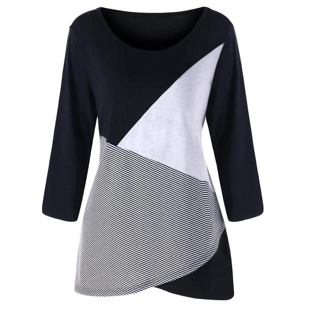 11818df2eaf2 IDASIC Fashion Women Casual Plus Size Long Sleeve Stripe O-Neck Patchwork  Tops T-