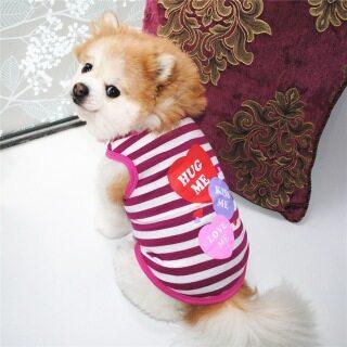 DY Yêu Mùa Hè Sọc Thú Cưng Chó Con Teddy Chow Chow Quần Áo Chó Mèo Quần Áo Yêu Tôi Ôm Tôi Hôn Tôi Hình Trái Tim In thumbnail
