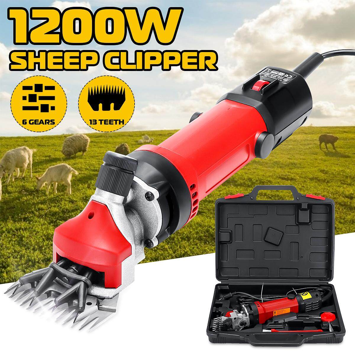 1200W 2800 rpm 13 Teeth Electric Sheep Goats Shearing Sheep Wool Clipper Trimmer Shears Animal Cutter Adjustable 6 Speed