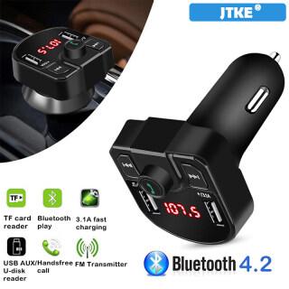 JTKE Bộ Phát FM LED Bluetooth 4.2 Cho Xe Hơi, Bộ Sạc Xe Hơi USB Kép 5V 3.1A Máy Nghe Nhạc MP3 Phụ Kiện Xe Hơi Dành Cho iPhone Xiaomi Huawei thumbnail