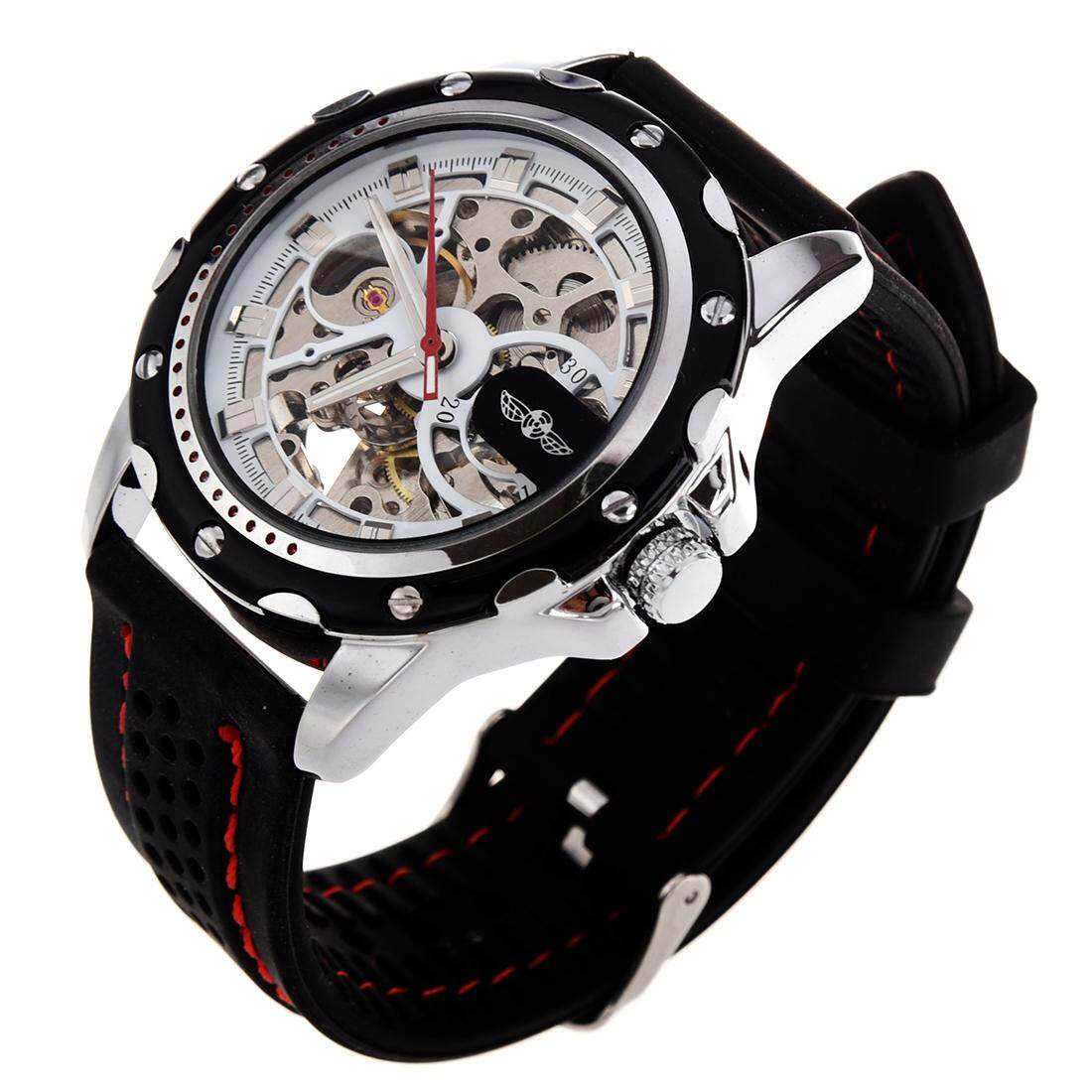 Mechanical Automatic Skeleton Mens Stylish Silicone Sport Wrist Watch Malaysia